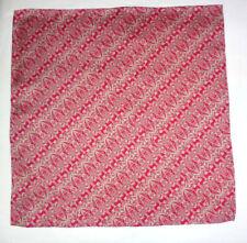 Silk mens handkerchief Liberty print Birds and beasts Red/silver grey  NEW