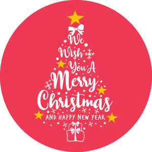 48 X MERRYCHRISTMAS AND HAPPY NEW YEAR WATERPROOF LABEL STICKERS 38MM SNP31