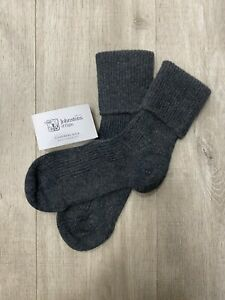 100% Pure Cashmere Bed Socks | Johnstons of Elgin | Made in Scotland | Charcoal