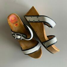 Vintage Simone Wood & Leather Wedge Sandals Made in Holland 6 6.5