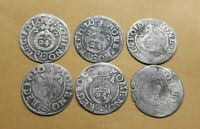 Set 6 pcs. European Medieval Era SILVER coins 1/24 thaler 1622 1624 years #2941
