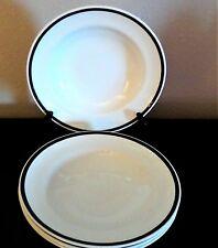 Steelite International England Large Rimmed Soup Bowls White With Black Trim x4