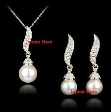 18K White Gold Plated Pearl Crystal Swarovski Elements Wedding Jewellery Set