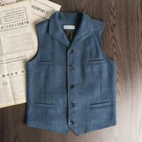 Men Vintage England Wool Blend Tweed Herringbone Vest Lapel Collar Slim Casual