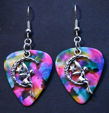 Guitar Pick Earrings With Fairy On Moon Charm On Tie Dye Psychedelic Colors