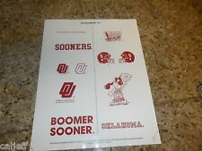OKLAHOMA SOONERS COLLEGE FOOTBALL LOGOS PROOF SHEET FOR BURGER KING PROMOTION