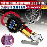 AU LCD Digital Tyre Inflator Car Motorcycle Air Pressure Tire Gauge PSI Hose