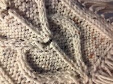 Hand Knit Women's  Winter  Scarf/Cowl  Aran Flec  Heart Cables-Bronze Beads