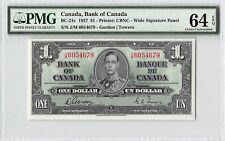 Canada 1937 BC-21c PMG Choice UNC 64 EPQ 1 Dollar (Gordon-Towers)