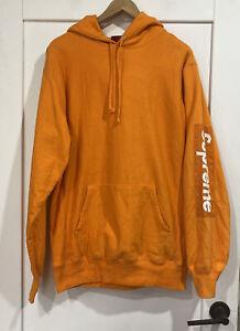SUPREME Patch Sleeve Hoodie Jumper in Orange Sz L