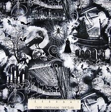 Halloween Fabric - Wicked Spooky Bat Spider Witch - Timeless Treasures YARD
