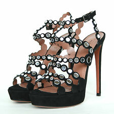 ALAIA $1,995 mirror disc high heel platform Azzedine Alaïa mirrored shoes 39 NEW