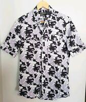 Arthur Galan Mens Short Sleeve Camouflage Print Shirt Italian Fabric Size 2