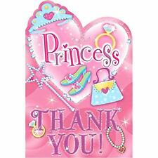Sparkling Princess Pink Fancy Girls Kids Birthday Party Thank You Notes Cards