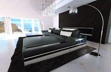 Sofa PARMA L Form Leder Luxuscouch in schwarz weiss mit LED Beleuchtung Ottomane