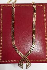 "10k Yellow Gold Greek Key Filigree V Lariat Artisan Bali Link Chain Necklace 18"""