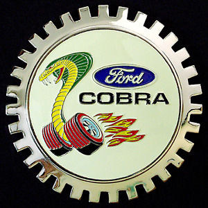 NEW Indoor/Outdoor Cobra Mustang Badge Emblem- Adhesive Backed- Chromed Brass