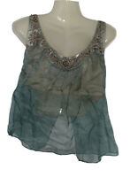 Rebecca Taylor Sz 6 Blue Tank Top Sleeveless Blouse Silk Sequin