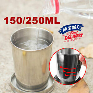 Collapsible Folding Cup Stainless Steel Portable Telescopic Travel Camping Cup