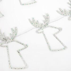 MERI MERI CHRISTMAS Silver Glitter Reindeer Mini Garland (8ft)