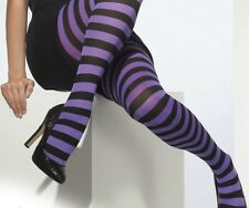 Halloween Witch Striped Tights Lingerie FANCY DRESS  Purple blue red pink