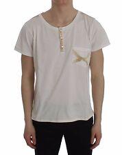 NEW $200 ERMANNO SCERVINO Beachwear T-shirt White Cotton Henley Top s. 48 / M