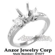 18k White Gold Princess Diamond Engagement Ring Setting R1577