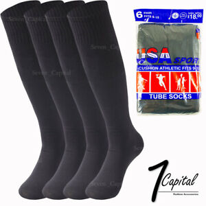 6 12 Pairs Mens Black Cotton Athletic Sports Tube Socks Soccer 9-15 Made In USA