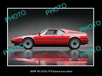 OLD LARGE HISTORIC PHOTO OF 1978 BMW M1 E26 LAUNCH PRESS PHOTO 2