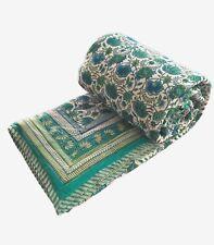 "Anokhi Green & Blue Floral Quilt, Reversible, 100% Cotton, 90""x108"""