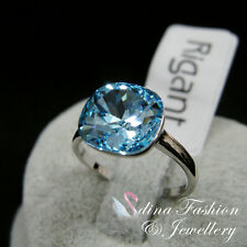 18K White Gold Plated Made With Swarovski Crystal Cushion Cut Ocean Blue Ring