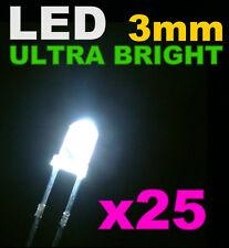 211/25# LED Blanche 3mm 25pcs+ résistance -> 20000mcd