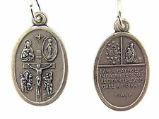 Silver Tone Catholic 4-Way Scapular Medal with Cross and Dove, 1 Inch