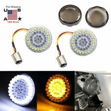 1157 LED Bullet Amber/White Turn Signals Running Insert Lights+Covers for Harley