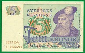 SWEDEN 5 Kronor Banknote (1977) P.51c , UNC