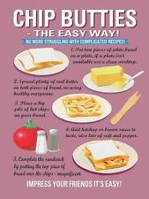 LEARN TO COOK CHIP BUTTIES STUDENT UNIVERSITY WALL ART METAL SIGN TIN PLAQUE 744