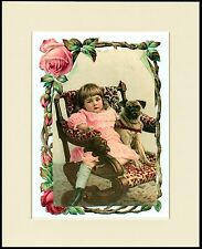 PUG DOG AND GIRL SIT IN CHAIR LITTLE DOG PRINT MOUNTED READY TO FRAME