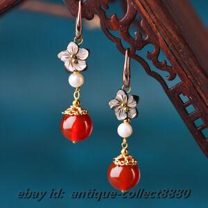 5cm*7.7G Chinese Style Agate/White Shell Beads/Shellfish Earrings Ear Stud Pair