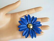 Vintage Blue Enamel Flower Brooch Pin