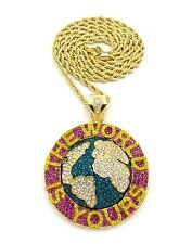 """NEW ICED OUT SOULJA BOY WORLD IS YOURS PIECE & 5MM 36"""" ROPE CHAIN."""