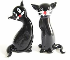 Glass Cat Figurine - Set of 2 Black Cats in different poses