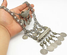 925 Silver - Vintage Antique Heavy Round Tribal Charm Chain Necklace - N1896