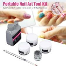 Portable 4 in 1 Nail Art Kit Acrylic Liquid Crystal Powder Pen Dappen Dish UK.