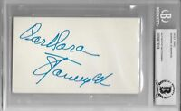 BARBARA STANWYCK Signed Index CARD ACTRESS Stella Dallas Ball of Fire BECKETT