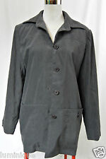*MILLER'S* Lined Grey Coat 12 M Thick Shoulder Pads Collared Jacket Casual Wear