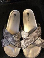 """Sandals, WHITE MOUNTAIN, grey & beige snakeskin,1 1/2"""" heel, SZ: 10M"""