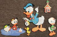 Vintage Walt Disney Productions Wall Decor Cutouts Donald Duck Huey Louie Dewey