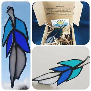 Suncatcher Feather, Art Glass Stained Glass Copper Foil Leaded Handmade Gift