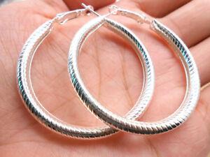 New Fashion 1 Pair 925 Silver Earrings Jewelry Stripe For Beautiful Women