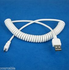 Coiled Micro USB Charger Cable WHITE for LG V10 G4 G3 S G PRO 2 Flex Nexus 5 G2